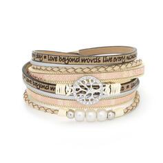 Fashionable Layered Alloy Rhinestones Imitation Pearls Leather Rope Women's Bracelets
