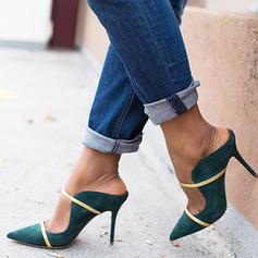 Kvinnor PU Stilettklack Pumps Tofflor med Spänne skor