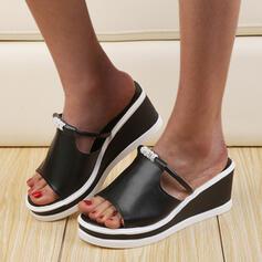 Women's PU Wedge Heel Sandals Wedges Peep Toe Slippers Heels With Rhinestone shoes