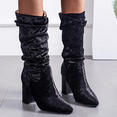 Women's Suede Chunky Heel Mid-Calf Boots Pointed Toe With Ruched Solid Color shoes