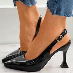 Kvinnor PU Stilettklack Pumps Spetsad tå med Spänne Ihåliga ut skor
