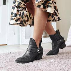 Women's Leatherette Chunky Heel Boots Ankle Boots Pointed Toe With Buckle Solid Color shoes