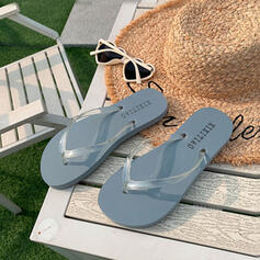 Women's PVC Flat Heel Sandals Flats Peep Toe Flip-Flops Slippers With Hollow-out shoes