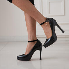 Kvinnor PU Stilettklack Pumps Spetsad tå med Spänne skor