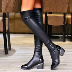 Women's PU Chunky Heel Over The Knee Boots Round Toe With Ruched Solid Color shoes