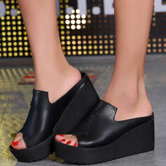Women's PU Wedge Heel Sandals Platform Wedges Peep Toe Slippers With Hollow-out Bandage shoes