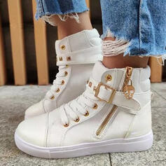 Women's Leatherette Canvas Wedge Heel Ankle Boots Round Toe With Rivet Lace-up shoes