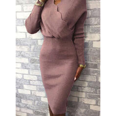 Solid Long Sleeves Bodycon Knee Length Little Black/Elegant Sweater/Pencil Dresses