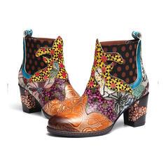 Kvinnor Konstläder Tjockt Häl Boots rund tå med Blommig skor
