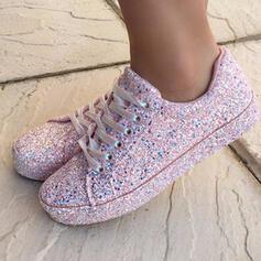 Kvinnor Glittrande Glitter Flat Heel Platta Skor / Fritidsskor Låg topp med Bandage skor