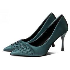 Kvinnor PU Stilettklack Pumps Spetsad tå med Färgblock skor