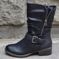 Kvinnor PU Låg Klack Halva Vaden Stövlar rund tå med Zipper Andra skor