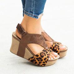 Women's PU Wedge Heel Sandals Platform Wedges Peep Toe With Buckle Animal Print Splice Color shoes