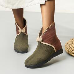 Kvinnor PU Flat Heel Boots Snökängor rund tå med Button Skarvfärg skor