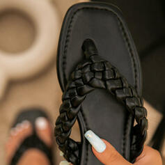 Women's PU Flat Heel Sandals Peep Toe Flip-Flops Slippers With Hollow-out Crisscross shoes