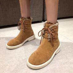 Kvinnor Mocka PU Flat Heel Snökängor rund tå med Bandage skor