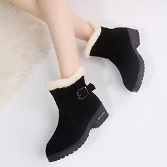 Women's Suede Low Heel Boots Ankle Boots Snow Boots Pointed Toe Winter Boots With Buckle Lace shoes