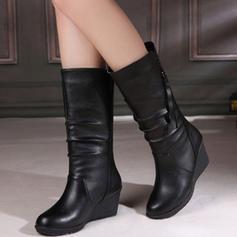 Kvinnor PU Kilklack Stängt Toe Kilar Stövlar med Zipper skor