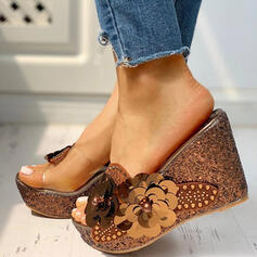 Women's PVC Wedge Heel Sandals Peep Toe Slippers With Rhinestone Imitation Pearl shoes