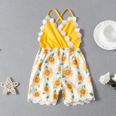 småbarn flicka Färgblock Blommig Spets Print Jumpsuit