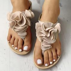 Women's PU Flat Heel Sandals Flip-Flops Slippers With Flower Elastic Band shoes