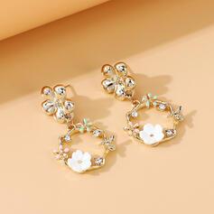 Beautiful Dainty Alloy Rhinestones With Flowers Earrings 2 PCS
