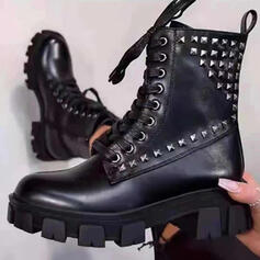 Women's PU Chunky Heel Platform Martin Boots Round Toe With Rivet Lace-up Solid Color shoes