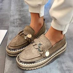 Women's Suede Flat Heel Flats Round Toe Slip On With Sequin shoes