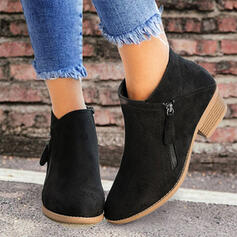 Women's PU Low Heel Ankle Boots Low Top Pointed Toe With Zipper Solid Color shoes
