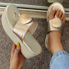 Women's PU Flat Heel Sandals Platform Peep Toe Slippers With Solid Color shoes