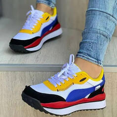 Women's Mesh PU Flat Heel Flats Round Toe Sneakers With Lace-up Splice Color shoes