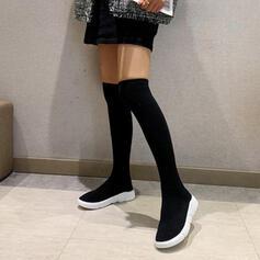 Kvinnor Glittrande Glitter Flat Heel Over The Knee Boots rund tå Strumpbyxor med Solid färg skor