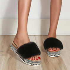 Women's PU Flat Heel Sandals Flats Peep Toe Slippers Round Toe With Faux-Fur shoes