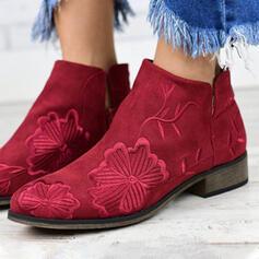 Kvinnor Mocka Flat Heel rund tå med Blommig skor