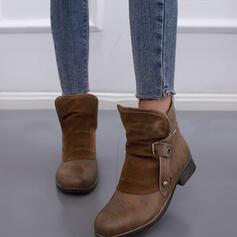 Kvinnor Mocka PU Låg Klack Boots Ridstövlar rund tå med Spänne Zipper Bandage skor