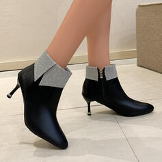 Women's PU Stiletto Heel Boots Ankle Boots With Colorblock shoes