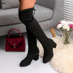 Women's Suede Chunky Heel Over The Knee Boots Round Toe With Lace-up Solid Color shoes