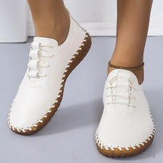 Women's PU Flat Heel Flats Low Top Round Toe Sneakers With Lace-up Solid Color shoes