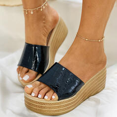 Women's PU Wedge Heel Sandals Wedges Slippers With Striped Wood shoes