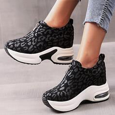 Women's PU Flat Heel Flats Platform Round Toe With Animal Print Zipper shoes