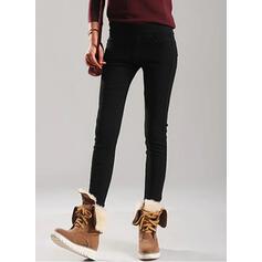 Solid Shirred Plus Size Elegant Skinny Pants