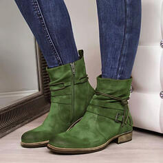 Women's Suede Low Heel Ankle Boots Riding Boots Round Toe With Ruched Zipper Lace-up Solid Color shoes