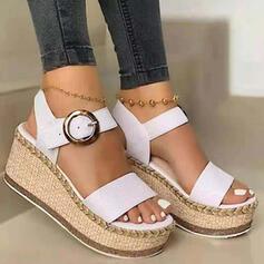 Women's PU Wedge Heel Sandals Wedges Peep Toe Heels Round Toe With Buckle shoes