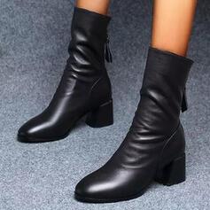 Kvinnor PU Tjockt Häl Halva Vaden Stövlar Ridstövlar rund tå med rynkad Zipper skor