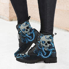 Women's PU Chunky Heel Mid-Calf Boots Martin Boots Round Toe With Animal Print Splice Color shoes