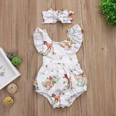 2-pieces Baby Girl Bowknot Cartoon Animal Print Cotton Set