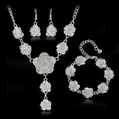 Vackra Och Blom-design Legering med Rose Smycken Sets Halsband örhängen Armband 4 st