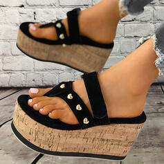 Women's PU Wedge Heel Sandals Peep Toe Flip-Flops Slippers With Rivet Hollow-out Solid Color shoes