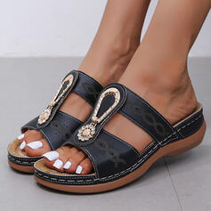 Women's PU Wedge Heel Sandals Peep Toe Slippers With Splice Color shoes