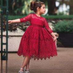 småbarn flicka Solid Spets Bomull Klänning